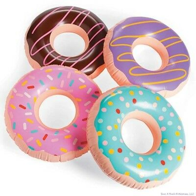 (4) JUMBO FROSTED DONUT Shaped Inflatables - Blow Up Pool Party Favor Toys luau