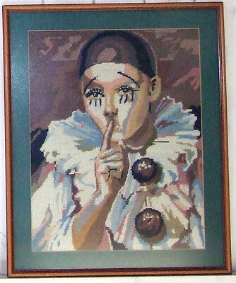 """Vintage large framed tapestry/ needlepoint Pierrot sad clown picture 19.5"""" x 24"""""""