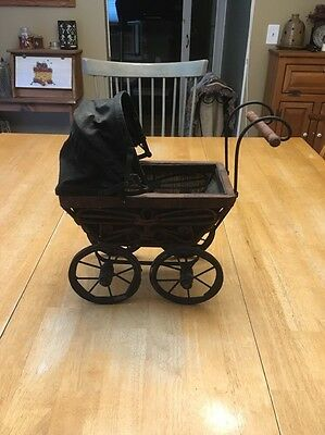 Antique Baby Doll Carriage Stroller Wood Wicker Steele - RARE