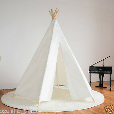 White Hexagon Cotton Canvas Fabric Kids Play Teepee Picnic tent with Rug