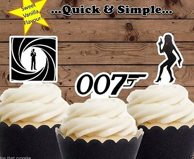James Bond 007 edible wafer Cupcake Cake Toppers Birthday PRE-CUT bachelor party