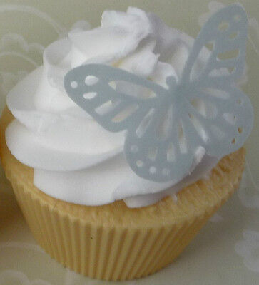 24 silver/grey edible wafer butterfly cupcake cake toppers birthday high tea