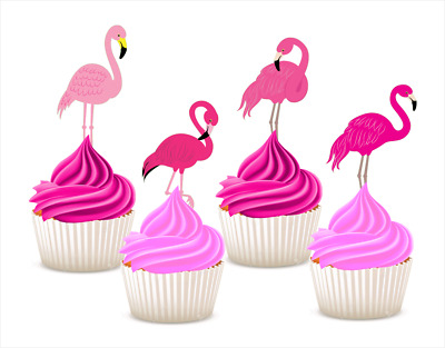 pink flamingo EDIBLE wafer cupcake cake toppers STANDUP birthday