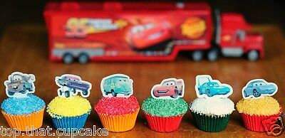 #524. Disney Pixar Cars EDIBLE wafer stand up Cupcake Cake Toppers Birthday