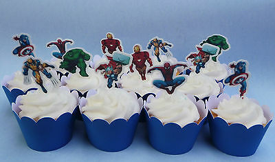 #555. Marvel Super Heroes edible wafer Cupcake Cake Toppers Birthday thor
