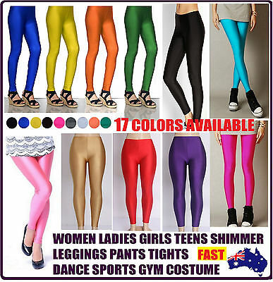 Ladies Shimmer Neon Tights Tight Leg Colors Pants Dance Gym Sport Party Costumes