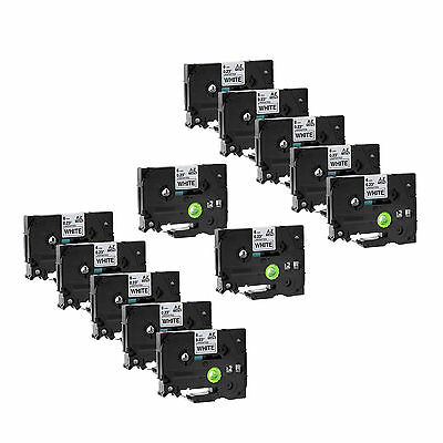 10PK Black on White Label Tape TZ TZe 211 Compatible For Brother P-Touch PT300
