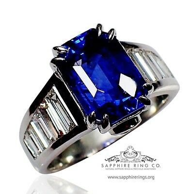 GIA Platinum 6.19 tcw Blue Emerald Cut Natural Ceylon Sapphire & Diamond Ring
