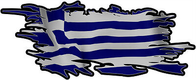 GREEK RIPPED FLAG Size apr. 165mm by 70mm GLOSS LAMINATED DOES NOT FADE