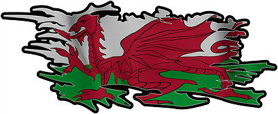 WELSH RIPPED FLAG Size apr. 165mm by 70mm GLOSS  DOES NOT FADE