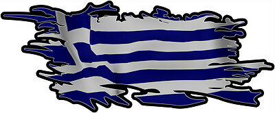 GREEK RIPPED FLAG Size apr. 300mm by 122mm GLOSS LAMINATED DOES NOT FADE