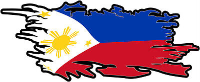PHILIPPINES RIPPED FLAG Size apr. 300mm by 122mm GLOSS LAMINATED DOES NOT FADE
