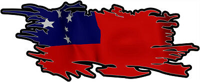 SAMOA  RIPPED FLAG Size apr. 300mm by 122mm GLOSS LAMINATED DOES NOT FADE