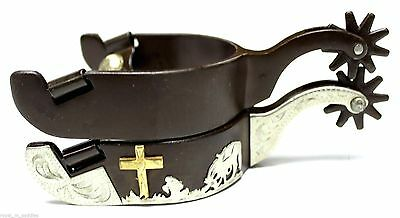 Ladies Western At the Cross Show Spurs Antique Brown Praying Cowgirl Spurs