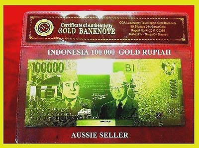 Indonesia 100000 Rupiah Gold Bank Note Unc Banknote  24Kt