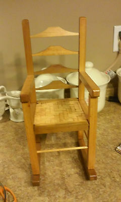 Vintage Child's Wooden Rocking Chair  Doll Small  Seat Rocker