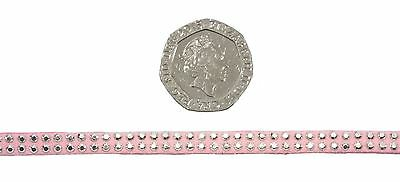 Mini Diamante Studs Pink Silver 5mm Faux Suede Trimming *5 Lengths*