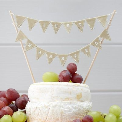JUST MARRIED cake bunting rustic wedding cake topper Ginger Ray