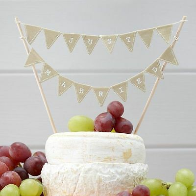 JUST MARRIED cake bunting vintage wedding cake topper Ginger Ray