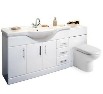 1800mm White Gloss Bathroom Vanity Cabinet Unit Back to Wall Toilet Furniture