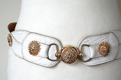 M - Vintage Belt - 1980s White leather gilt medusa head studded belt