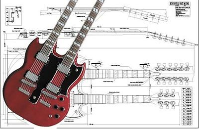 Gibson EDS® Double-Neck SG® Electric Guitar Full-Scale Plan ...