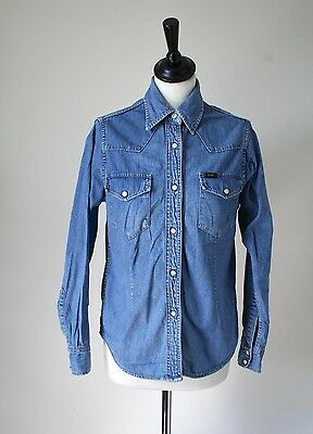 Lee Womens Denim Shirt - Blue Cotton - UK 10 / S