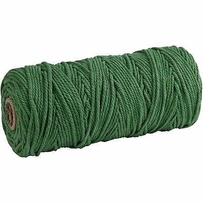 Cotton Twine, L: 120 m, thickness 2 mm, green, Thick quality 12/36, 250g