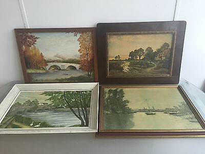 Lot Of 4 Medium Size Landscape Paintings And Prints - Vr