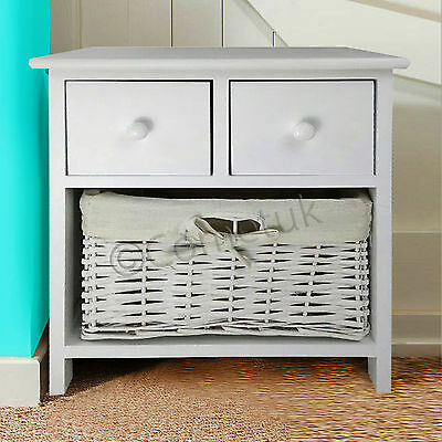 Shabby Chic Bedside Units Wicker 2 Drawers Storage Basket Bedroom Table Cabinet