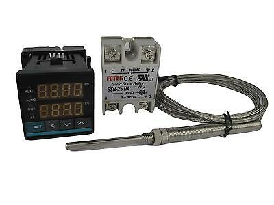 Digital PID Temperature Controller w SSR and High Temp Probe (2280℉ , 2 Alarms)