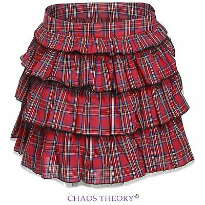 Ladies Womens Frilled Ruffle Mini Skirt Red Tartan Tiered Checked Skater