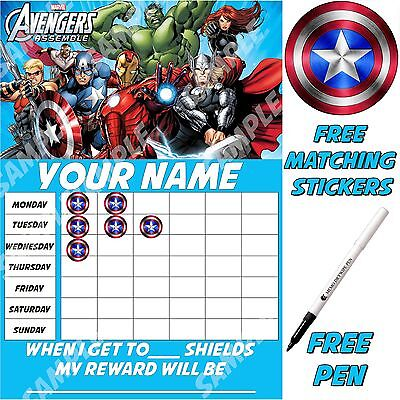 Children Personalised reusable Reward Chart, Avengers,free stickers pen MAGNETIC
