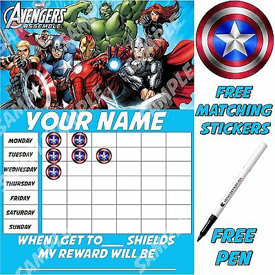 Children's Personalised reusable Reward Chart, Avengers, free stickers & pen.