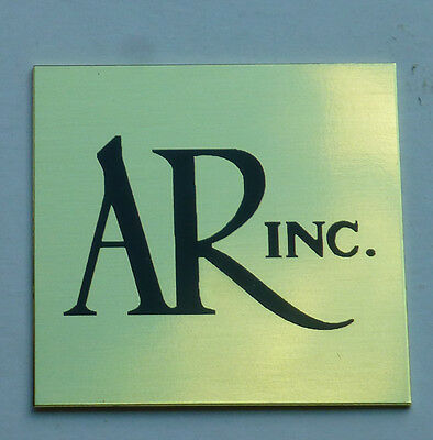 Pair SHINY BRASS adhesive-back Acoustic Research AR-1 2 2a 3 Speaker Badge Logo