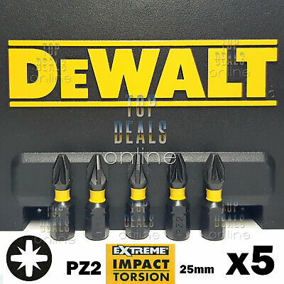 DeWALT PZ2 Extreme Impact Torsion Pozi 2 Screwdriver Bits 25mm x5 Bits DT7387T