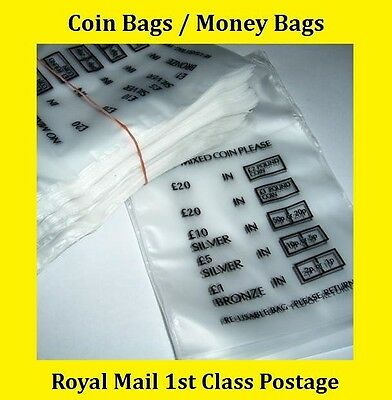 100 Plastic Coin Bags Money Bank Bags No Mixed Coins Change Cash Retail Bag New
