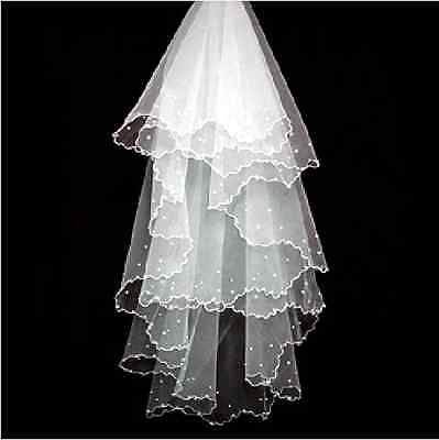 Elegant Wedding Bridal Veil Beaded Pearl White without Comb 3 Layers