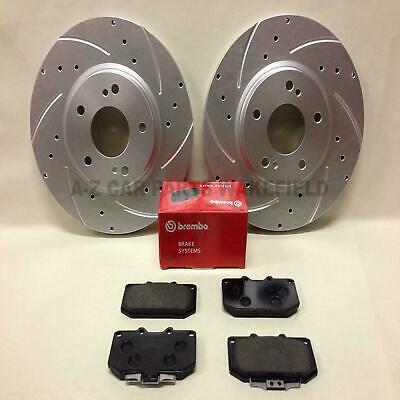 For Nissan Skyline R33 2.5 T GTS-T Kinetix Front Grooved Brake Discs Brembo Pads