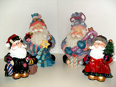 Set of 4 Colorful Christmas Gnomes with Gifts and Presents Wise Men