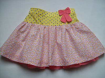 Girls Ditsy Floral Print Pink Skirt Fully Lined with Net Edge Age 2-3 Years