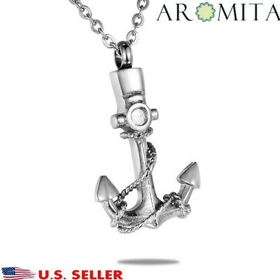 Premium Pirate Anchor Cremation Jewelry Ashes Keepsake Memorial Urn Necklace