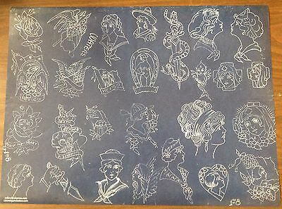 Percy Waters Blueprint Poster Tattoo Flash Sheet 18X24 100Lb #5 Vintage Antique