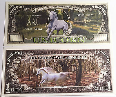RARE: Unicorn  $1,000,000 N/Note, Fantasy, Horse, magic,  Buy 5 Get one FREE