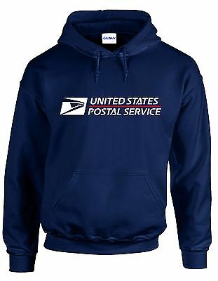 USPS POSTAL HOODIE #2 Hooded Sweatshirt Logo on Chest United States Service NAVY