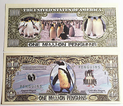 RARE: Penguin $1,000,000 Novelty Note, Wild Animals Buy 5 Get one FREE .
