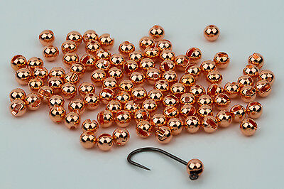 Tungsten Slotted Fly Tying Beads / Copper 100 Count - Various Sizes