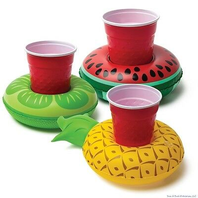 3-pk Beverage Boat - Inflatable Fruit Cup Drink Can Holder Pool Float - BigMouth