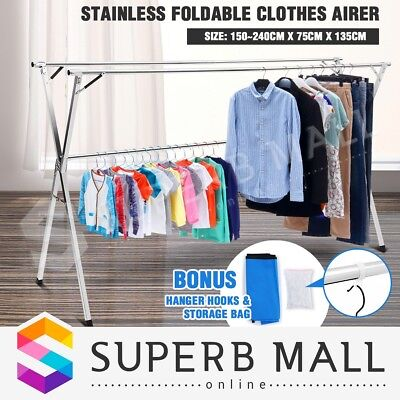 Stainless Foldable Clothes Rust Resistant Airer Drying Rack Hanger Sheet Dryer