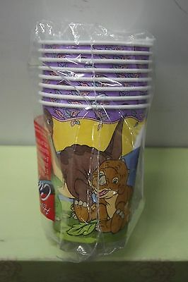 LAND BEFORE TIME PAPER CUPS Party Supplies Dinosaurs Birthday 1997 NEW